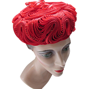 Cherry Red Pill box Hat in Swirled Straw By Cass of California California Model
