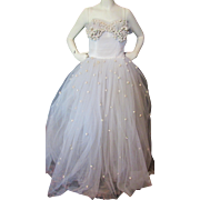 Amazing White Tulle Wedding or Prom Gown with White Rose Millinery Flower Bodice 1950 Style