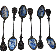Set Czechoslovakia Enamel Spoons with Holland Style Bowls and Ornate Handles Collector Spoons