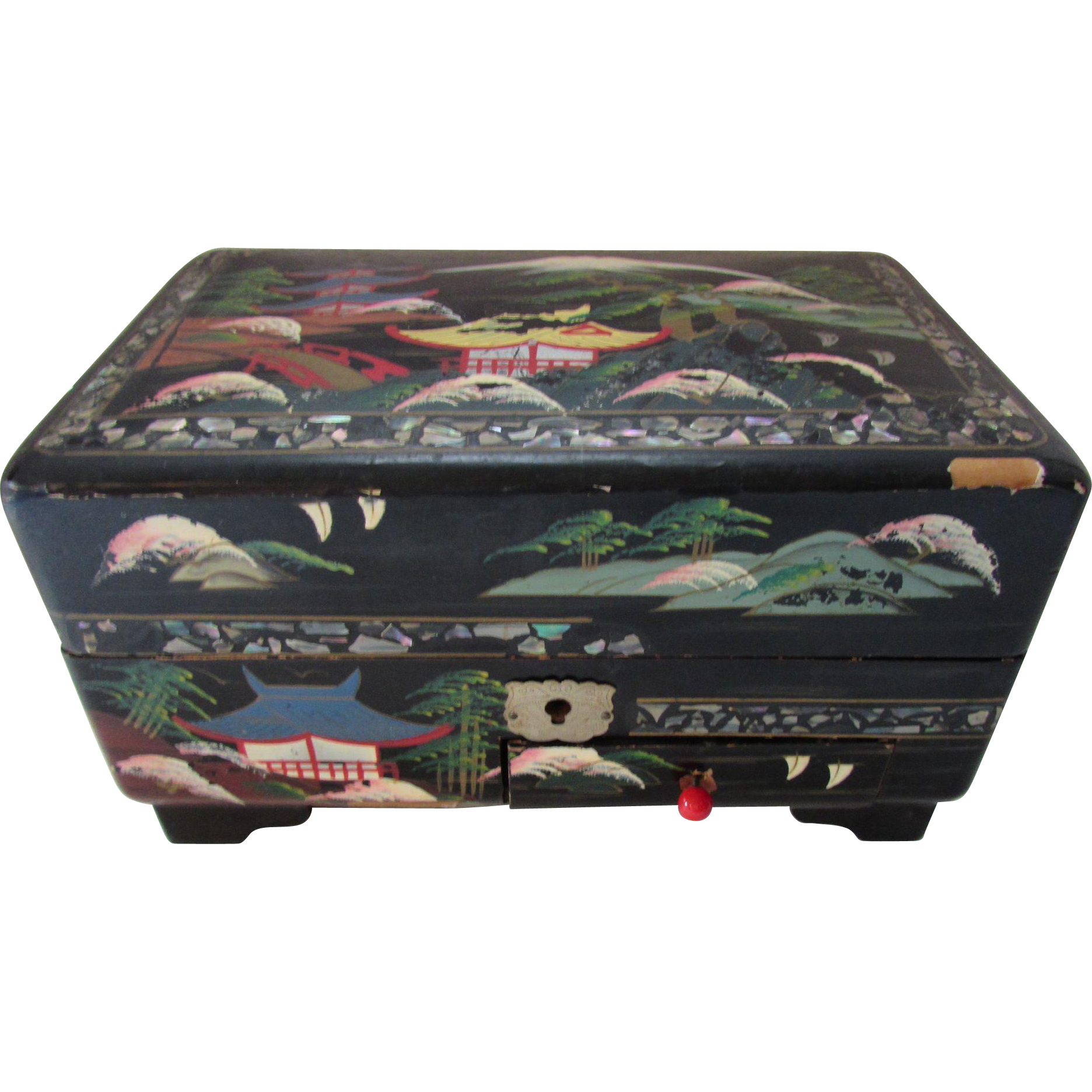 Vintage Asian Style Musical Jewelry Box in Black with Twirling Geisha and Fuchsia Interior