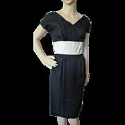 Sophisticated Little Black Dress for Evening Wear with Cream Tone Cummerbund