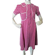 Girls 1940 Style Cotton Dress in Maroon with White Trim
