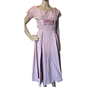 Amazing 1960 Era Cocktail Dress in Dusty Rose Pink with Large Satin Bow