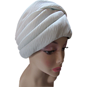 Feminine Turban Hat in Swirls of Sea Foam Green Crepe by Eva Mae