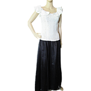 1940 Dance Dress in White Eyelet Ruffles and Black Satin and Net Skirt