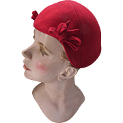 Cherry Red Felt Hat Mid Century for Fall Winter by Felts, Inc