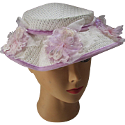 Little Girl Spring Summer Hat in Lilac and White