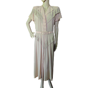 Sophisticated 1940 Style Cocktail Dress in Crepe and Lace Mature Size by Samuel Grossman