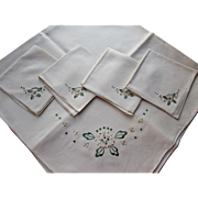 Vintage Luncheon Set Tablecloth and Napkins in Cream with Spinach Green Embroidered Flower