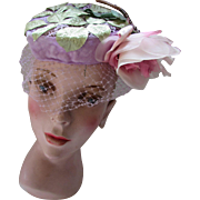 Summer Hat in Rose Pink, Spring Green and Lilac Huge Millinery Rose