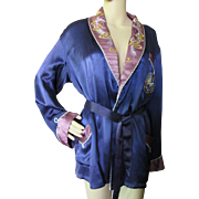 Satin Smoking Jacket in Midnight Blue with Embroidered Dragons