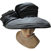 New Look Black Hat with Swirls of Organdy Wide Brim Cathay of California