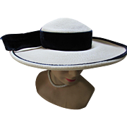 Wide Brim White Millinery Straw Hat with Navy Velvet Ribbon Carson Pirie Scott & Company