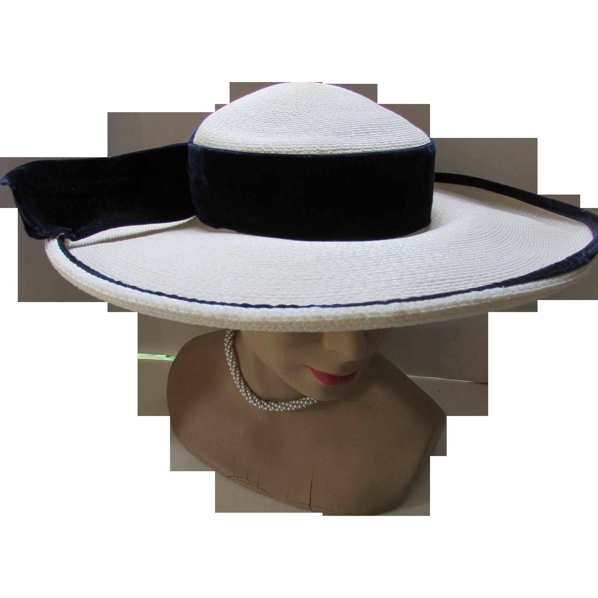 Wide Brim White Millinery Straw Hat with Navy Velvet Ribbon Carson Pirie Scott & Company