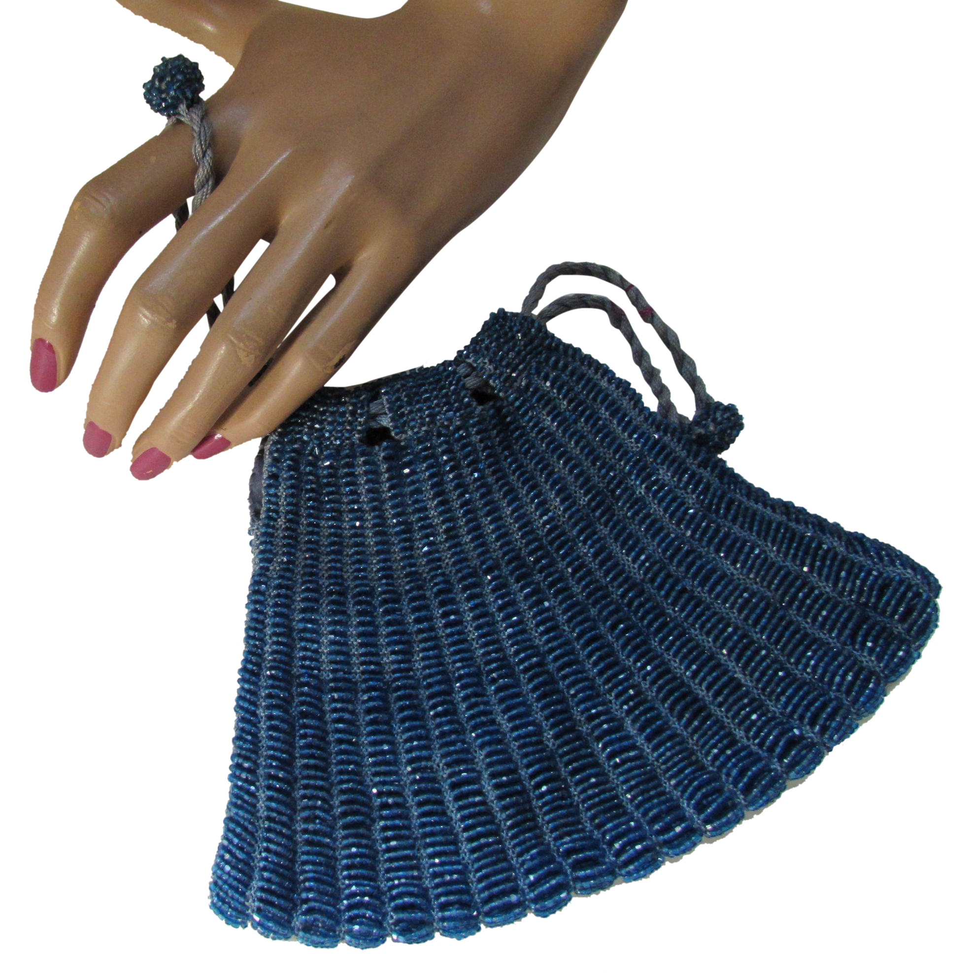 1920 Era Vintage Beaded Purse in Electric Blue Beads Drawstring Style