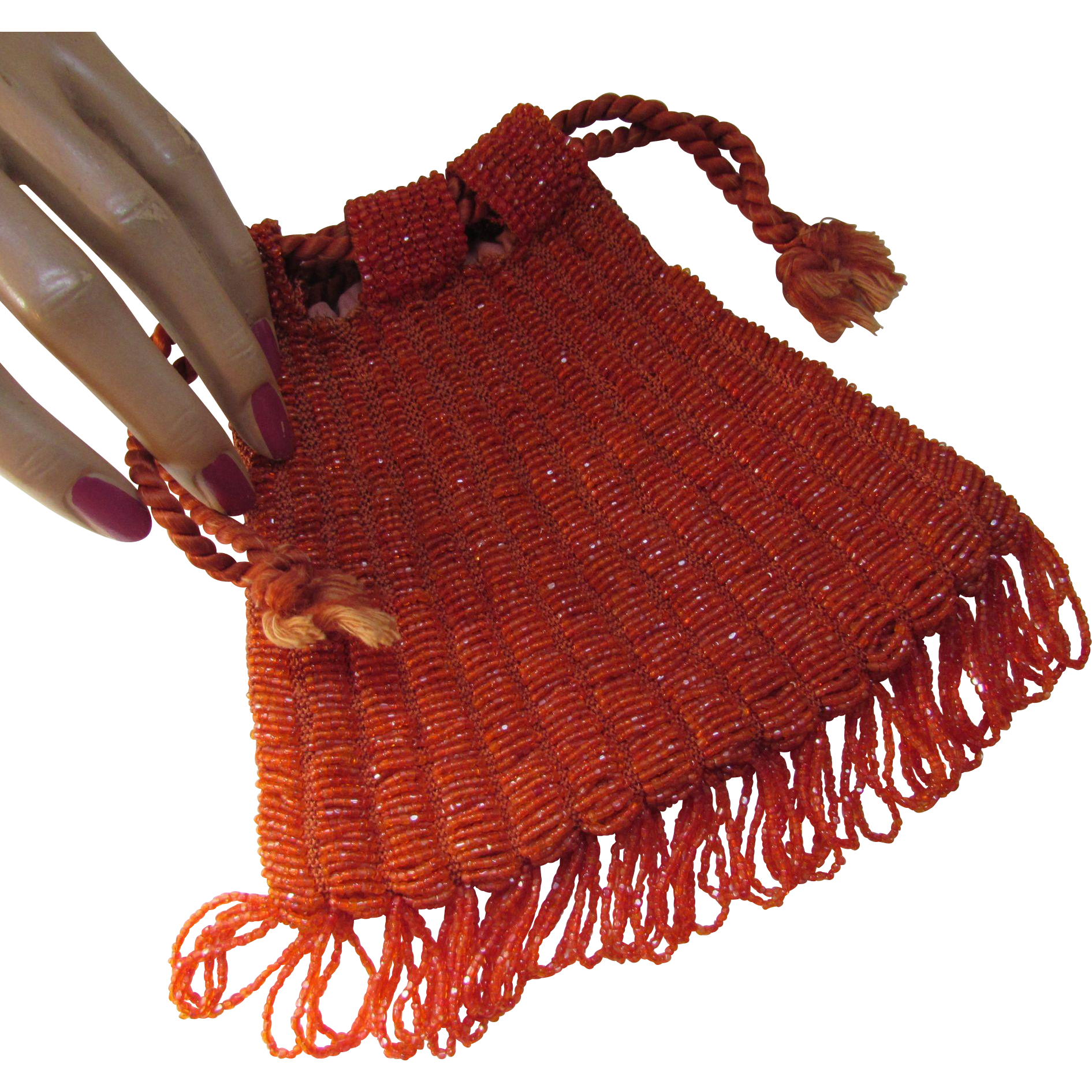 Beaded Flapper Style Drawstring Purse in Burnt Orange Carnival Glass Beads