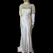 Gorgeous 1930 Era Wedding Dress in Oyster Satin with Photo