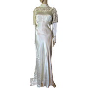 Gorgeous 1930 Era Wedding Dress in Oyster Satin with Photo