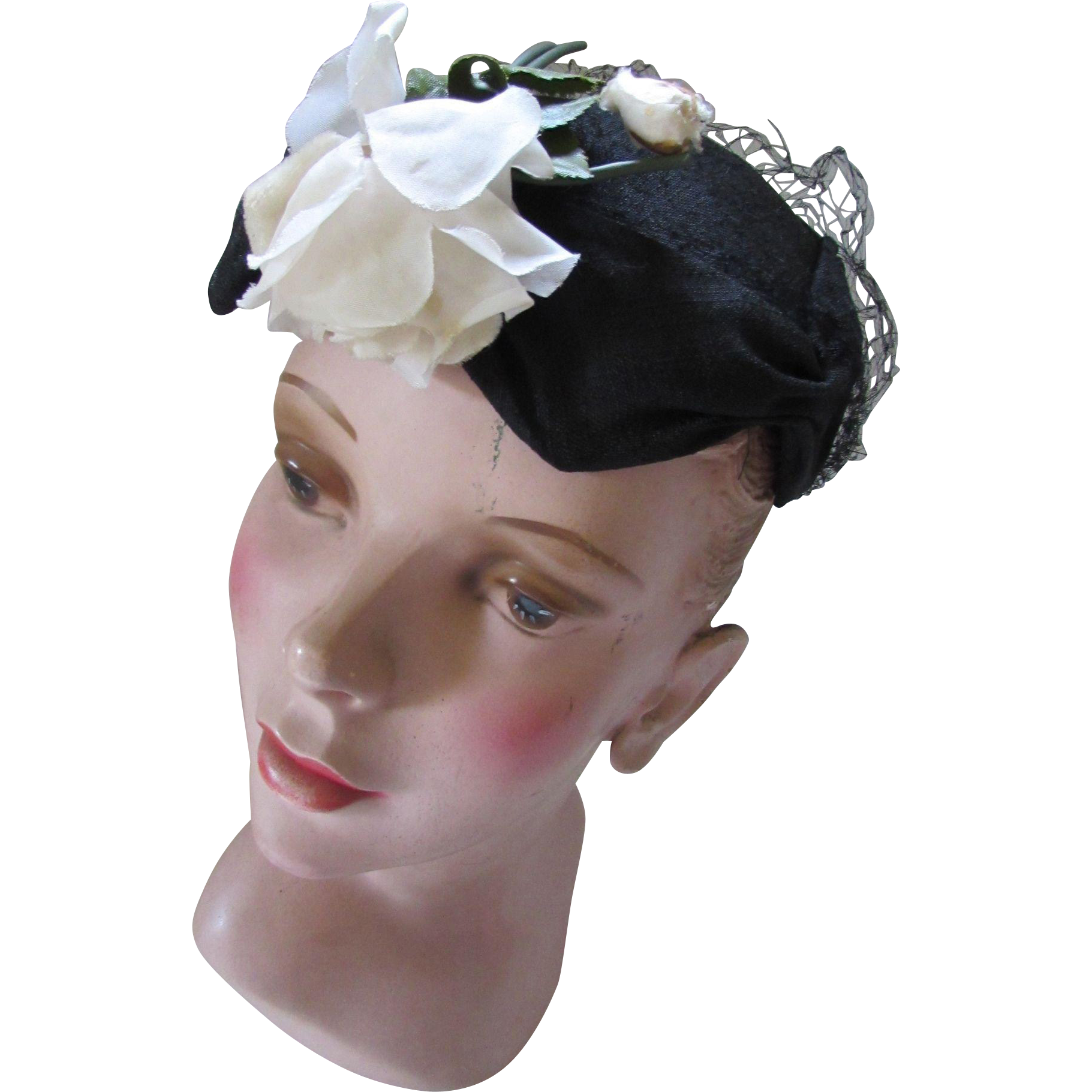 Mid Century Hat Little Topper in Black Shantung with White Rose