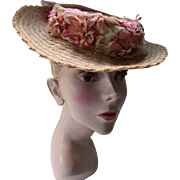 Small Summer Straw Hat with Swag of Dusty Roses by Westfield