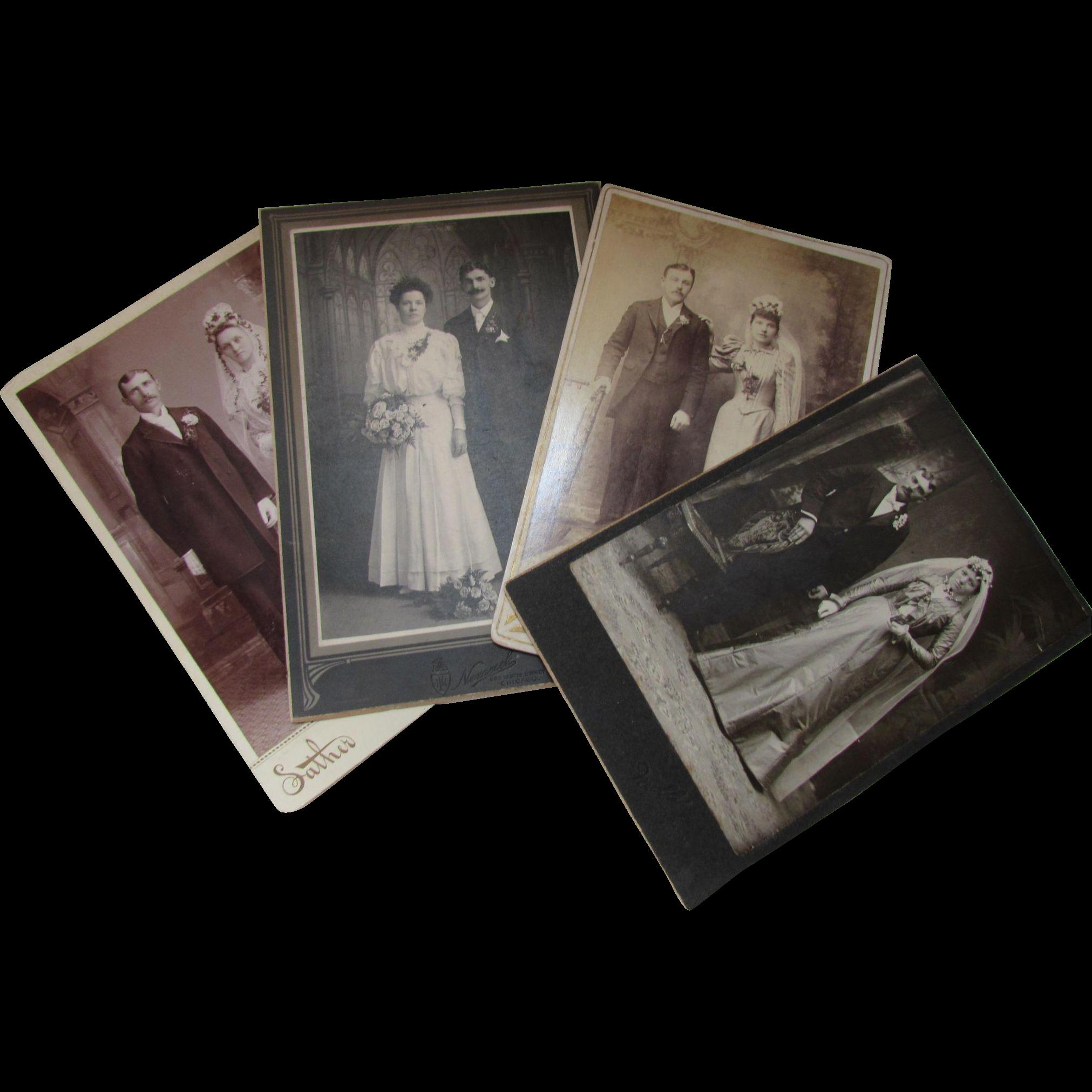 Four Victorian Era Photographs Wedding Couples in Full Regalia