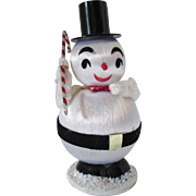 Little Snowman in Chenille and Pulled Thread Black and Red Accents Made in Japan