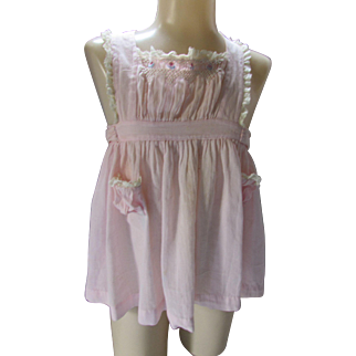 Child's Pink Pinafore with Smocking and Embroidery Marshall Field