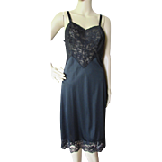 Lorraine Quality Lingerie Lace and Nylon Black Slip Size 34