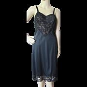 Lorraine Quality Lingerie Lace and Nylon Black Slip Size 34