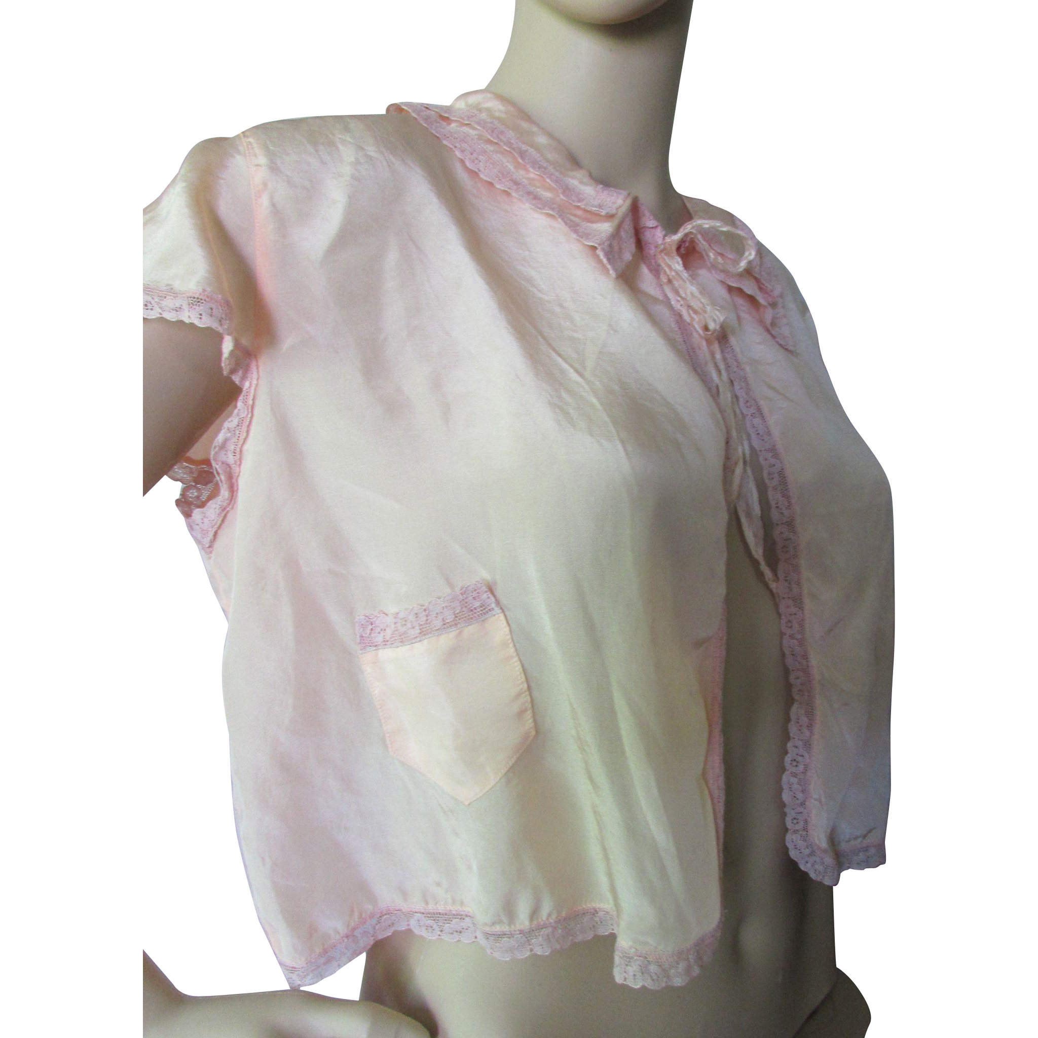 Vintage Bed Jacket in Whisper of Peach Silky Rayon with Lace Edging