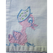Cutest Cottage Style Vintage Baby Blanket and Pillow with Pink Duck Applique