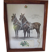 Framed Horse Print Pair of Beauties Advertising Horse Tack Cambridge Illinois