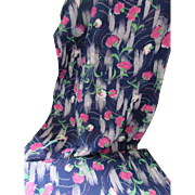 Vintage Rayon Fabric in Navy with Fuchsia Carnations 1950's Style Six Yards