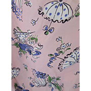 Vintage Nylon Fabric in Pink with Lady and Parasols in Blue and White 2+ Yards