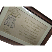 Cutest Framed Drawing Little Girl with James Whitcomb Riley Poem B B Stacey 1909 with Provenance Note