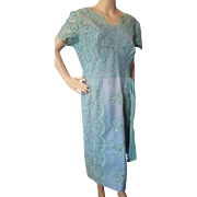Cocktail Dress in Turquoise Lace, Satin and Sequins Mature Size Ladies 16
