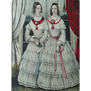 Original Kellogg Lithograph Daughters of Temperance Hand Colored Ca 1850
