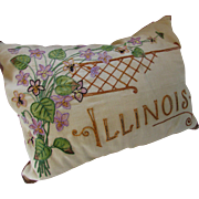 Vintage Embroidered Pillow Illinois in Marigold and Violet