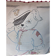 Vintage Pillow Cover Embroidered Puppy Posing as Staff Sargeant Soldier