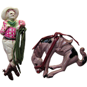 Howdy Cowboy and His Bucking Horse Vintage Plastic Jewelry