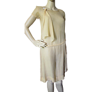 1920 Era Day Dress in Apricot Chiffon for Salvage or Pattern