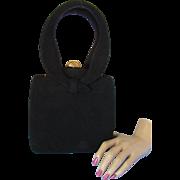 Susan Gail Designer Vintage Purse in Sueded Black Curvy Style
