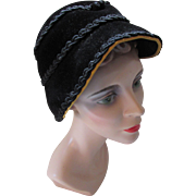 Bell Shape Hat in Black Velvet with Black Gimp Trim and Mustard Ribbon Edging MSC