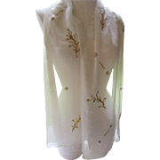 Sheer Cream Tone Chiffon Ladies Scarf with Twigs in Gold Tone Bugle Beads and Sequins