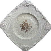 Royal Cauldon England Set of Dessert Luncheon Plates Heavily Embossed with Floral Center 1930-50 mark Pattern ROC 141