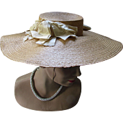 Early Old Fashioned Garden Party Straw Hat Wide Brim Silk Ribbon
