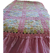 Cottage Style Yo Yo Quilt Full Size in Pretty Pastel Prints and Bubble Gum Pink Border