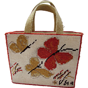 Vera Neumann Hand Made Needlepoint Tote in Orange and Beige Butterflies