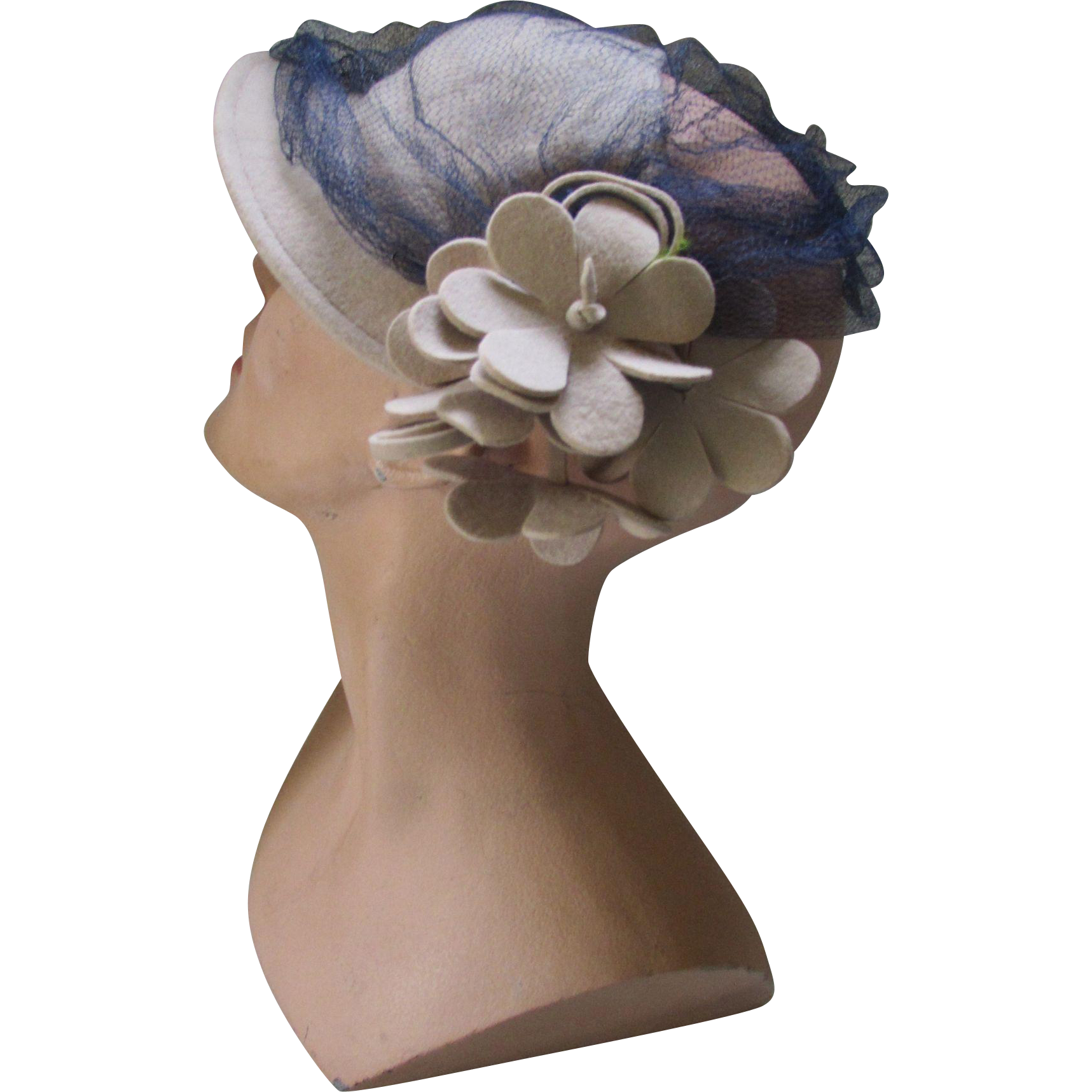 Handsome Mid Century Felt Cloche Hat in Putty Tone with Dangling Felt Petals Navy Veil