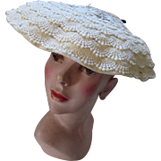 Mid Century Summer White Saucer Hat in Layers of Lace and Scattered Rhinestones